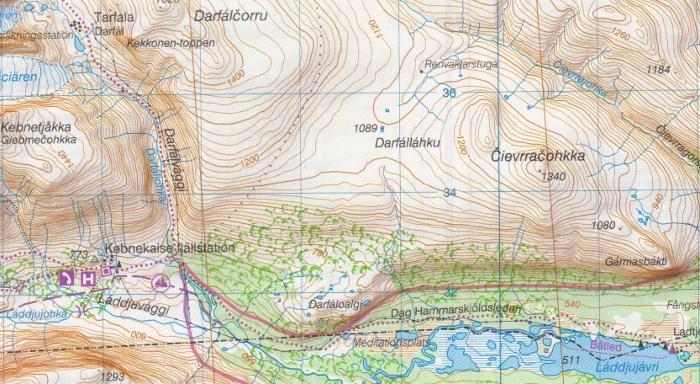 Lapland Backpackingbongos - Sweden lapland map